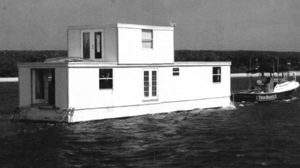 Fane Lozman's floating home is docked at a marina in Riviera Beach, Fla., in this undated photo from court documents.