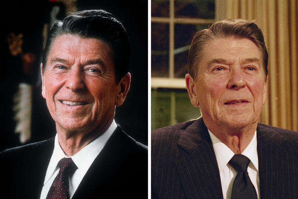 <p>President Ronald Reagan posed for an official White House photo during his first year in office (1981, left). On right, he spoke to the nation early in his second term, in February 1986.</p><p></p>