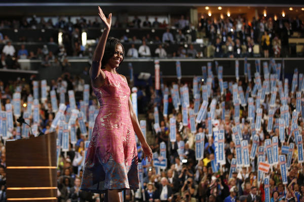 <strong>First lady:</strong> Michelle Obama waves after addressing the Democratic National Convention in Charlotte, N.C., on Sept. 4, 2012.
