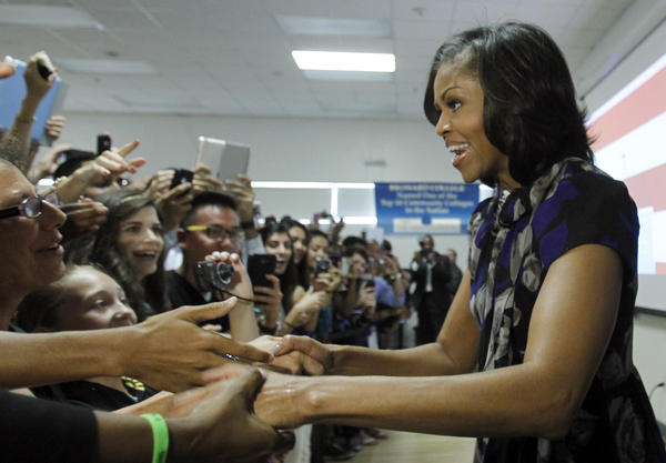 <strong>On the campaign trail:</strong> Michelle greets supporters at Broward College in Davie, Fla., on Oct. 22, 2012, where she rallied grass-root supporters and spoke of what's at stake in the election for Floridians. Michelle was seen as an asset on the campaign trail, where she often drew large crowds.