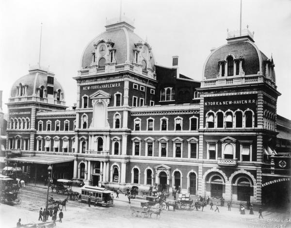 """Before Grand Central Terminal, there was Grand Central Depot, which <em>The New York Times</em> once complained """"can only by a stretch of courtesy be called either central or grand."""" It was completed in 1871."""