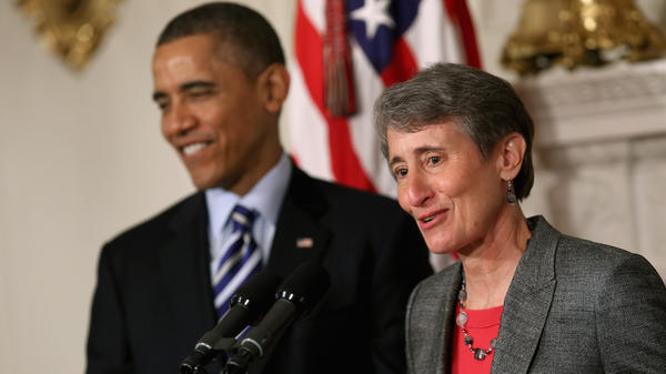REI CEO Sally Jewell delivers remarks Wednesday after being nominated by President Obama to be the next secretary of the interior.