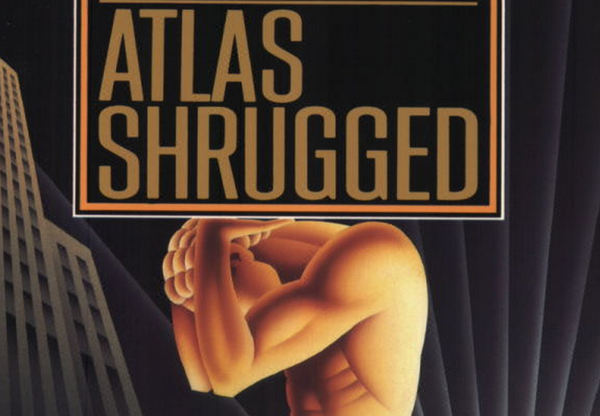 A cover detail from an edition of Ayn Rand's Objectivist classic <em>Atlas Shrugged</em>.