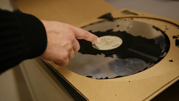 A 16-inch lacquer disc, a format used in the 1930s, from the collection of the Library of Congress. Most of the lacquer, the part of the disc where the sound was etched, has been lost to decay.
