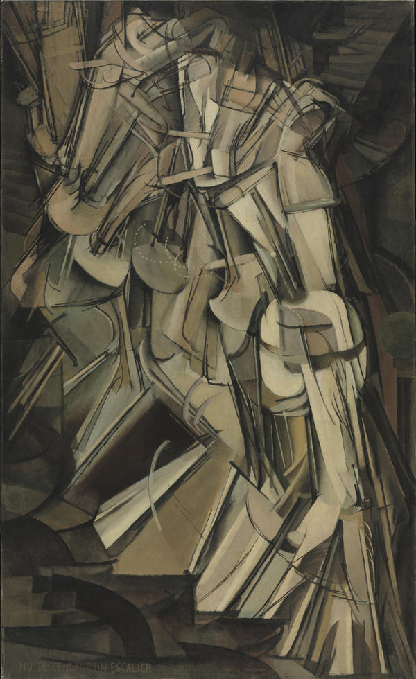 "Marcel Duchamp's Cubist-inspired <em>Nude Descending a Staircase</em> was famously described by one critic as ""an explosion in a shingle factory."""