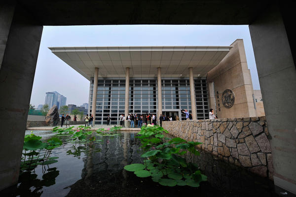 Local and foreign journalists visit the new U.S. Embassy in Beijing on Aug. 5, 2008. This massive embassy is the second-largest in the world after the heavily fortified compound in Baghdad.