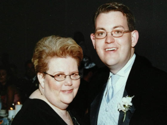 Charles Ornstein with his mother, Harriet Ornstein, on his wedding day, weeks after she was mugged in a parking lot and knocked to the pavement with a broken nose.