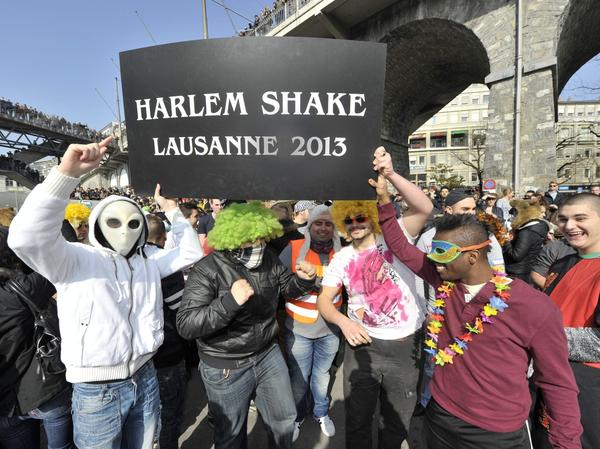 "The ""Harlem Shake"" has certainly gone global. Sunday in Lausanne, Switzerland, these folks joined in."