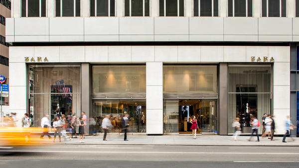 The New York City Zara store on Fifth Avenue.