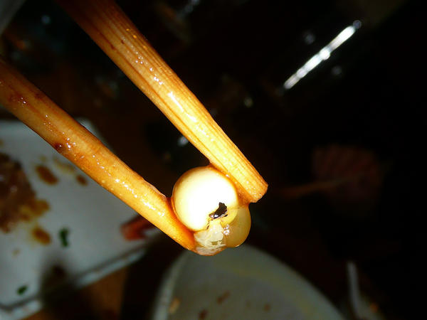Fish eyeball served at the Sushi Taro restaurant in D.C.