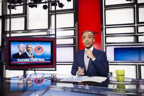 The Rev. Al Sharpton, founder and president of National Action Network, prepares for his MSNBC show <em>PoliticsNation </em>in January.