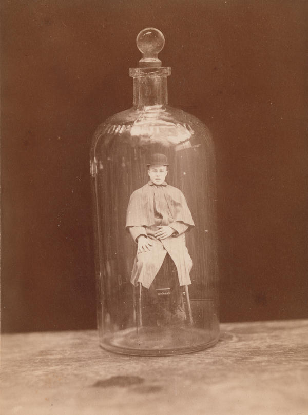 <em>Man in bottle</em>, c. 1888 (J.C. Higgins and Son)
