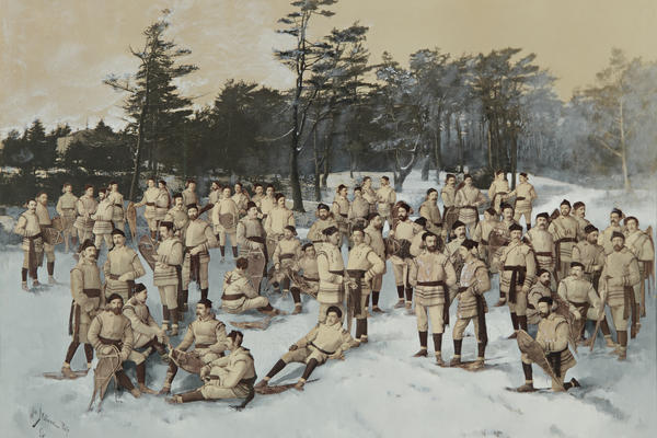 <em>Red Cap Snow Shoe Club, Halifax, Nova Scotia,</em> circa 1888, collage of albumen prints with applied media (Wm. Notman and Son, Montreal, Eugene L'Africain, William Notman)