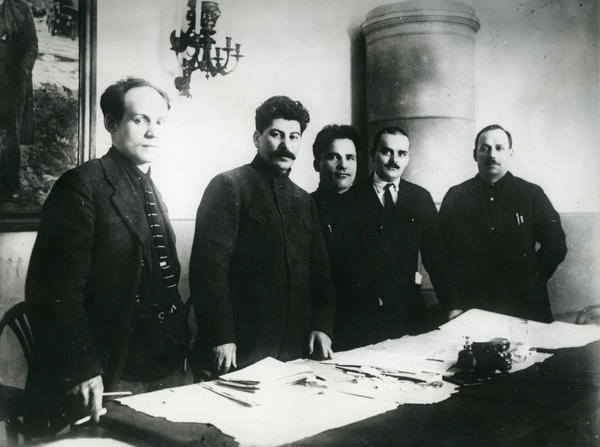 <em>Nikolay Antipov, Joseph Stalin, Sergey Kirov, Nikolay Shvernik and Nikolay Komarov at the Fifteenth Regional Party Conference, Leningrad</em>, 1926, printed later (Unknown Photographer)