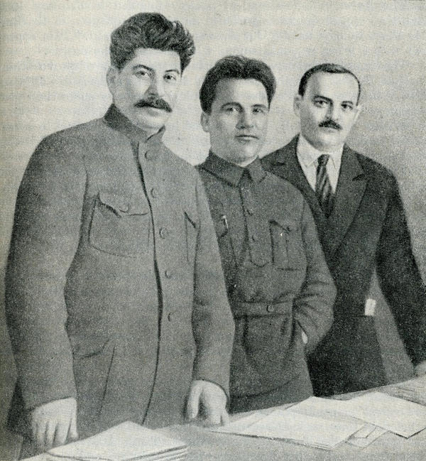 <em>Joseph Stalin, Sergey Kirov and Nikolay Shvernik</em>, 1926, published in <em>A History of the U.S.S.R.,</em> Part 3 (Moscow, 1948)