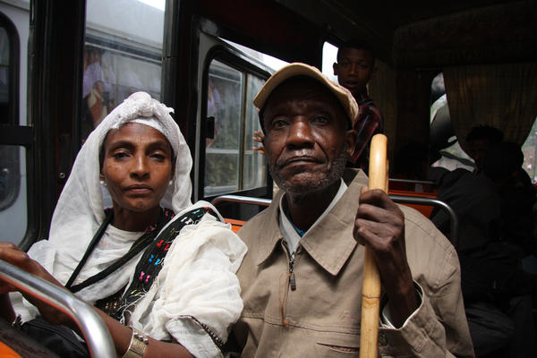An elderly couple, ready for their long-awaited move to Israel, June 2011.