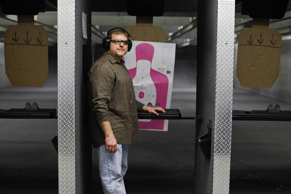 Gun enthusiast Paul Gwaltney at Blue Ridge Arsenal, in Chantilly, Va. Gwaltney, an NPR listener, agreed to host a discussion about guns with friends and colleagues.