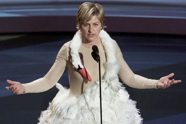 DeGeneres hosted the Emmy Awards in 2001. The dress is similar to one made famous by Icelandic singer Bjork.
