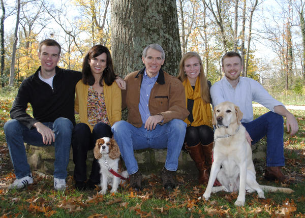 This undated photo provided the office of U.S. Senator Rob Portman shows, from left to right, son Will Portman, wife Jane Portman, Sen. Portman, daughter Sally Portman, and son Jed Portman.