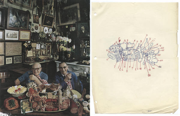 A tear sheet from <em>Holiday</em> magazine shows bistro owner Marius Guilhot and fishmonger Henri Castaing, 1961. Newman's sketch to the right maps out the table setting.