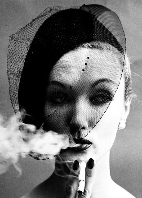 <em>Smoke & Veil, Paris</em> (Vogue), 1958, cover of book <em>In & Out of Fashion</em>, Paris, 1994