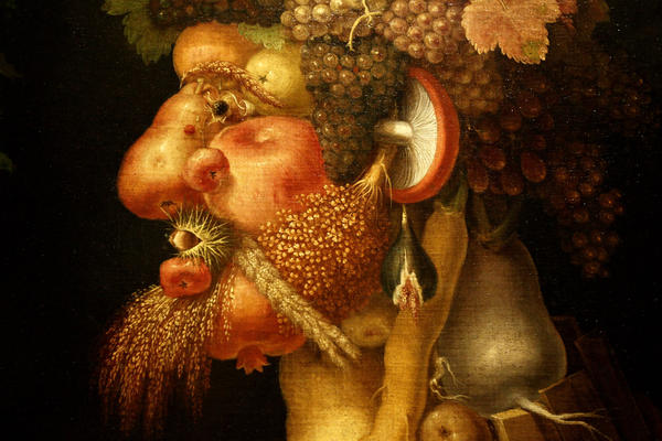 Detail of <em>The Autumn,</em> a painting of a man made of food by 16th century Italian painter Giuseppe Arcimboldo.