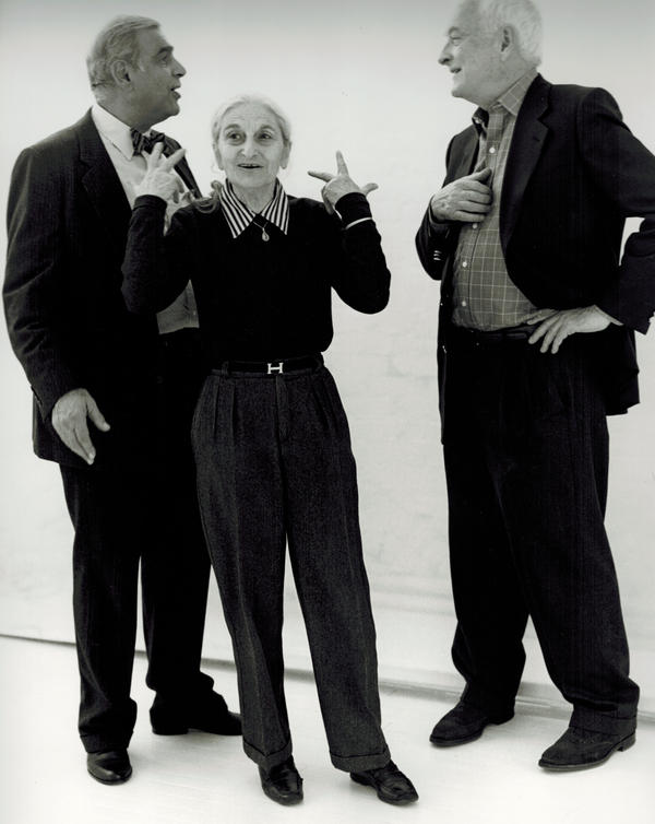 This undated publicity photo provided by Merchant Ivory Productions shows Oscar-winning screenwriter and award-winning novelist Ruth Prawer Jhabvala (center) with film director and producer Ismail Merchant (left) and director James Ivory in a studio. Jhabvala, 85, died in New York on Wednesday.