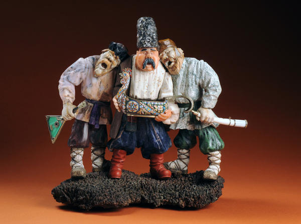 <em><em>Bosom Pals, </em></em>an iconic sculpture by Vasily Konovalenko, was created between 1981 and 1984. It shows three revelers out for a night of drinking and song. Konovalenko loved this scene so much that he repeated it in other works — including enamels and bronzes and in sketches.