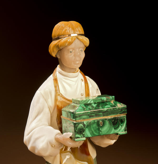 <em><em>Danila</em></em> is the sculpture that marks Konovalenko's entry into gem carving. Konovalenko was working at the Maryiinsky Theatre in St. Petersburg when he had to make a malachite box for the stonecutter Danila, the protagonist in the ballet <em><em>Stone Flower</em></em>.