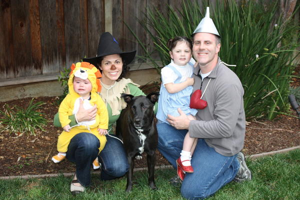 """Welcome to Oz — Colin the Cowardly Lion, Karen the Scarecrow, Napoleon as Toto, Lauren as Dorothy, and Scott as the Tin Man. This imaginative book and movie has captured the heart of my daughter! She loves the whimsical characters and the catchy tunes of the movie."" — Karen Hamilton, 36, San Jose, Calif."