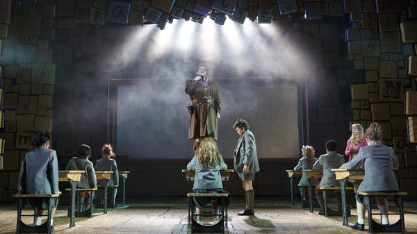 The Broadway cast of <em>Matilda the Musical</em>, including Olivier Award-winning actor Bertie Carvel as the barbaric headmistress Miss Trunchbull.