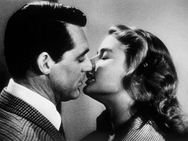 Two prominent chins meet: Cary Grant and Ingrid Bergman kiss in the 1946 thriller <em>Notorious.</em>