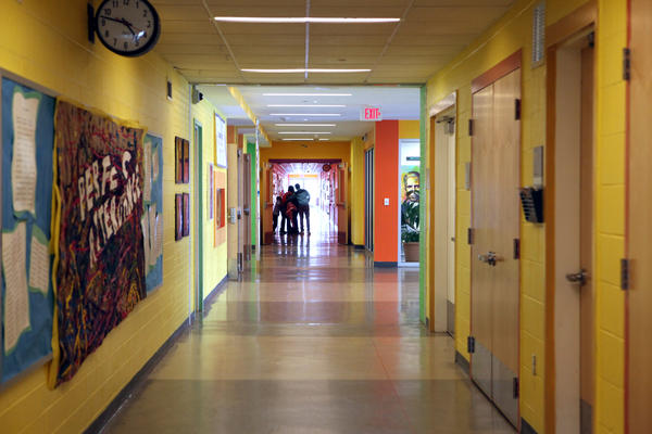 The hallways at Savoy are painted in bold colors.