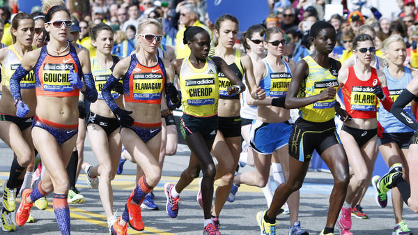 The scene at the start of the elite women's division of the Boston Marathon on Monday.