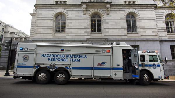 A Hazardous Materials Response Team (HAZMAT) truck outside the Russell Senate Office Building in Washington, D.C., on Wednesday.