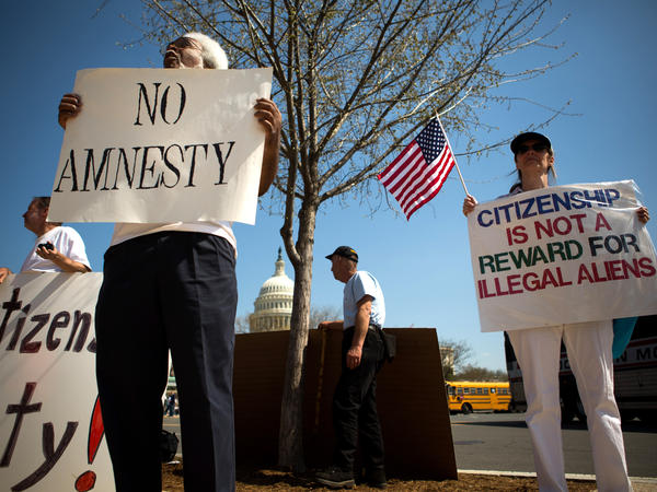 Protesters demonstrate in front of the U.S. Capitol on April 10.