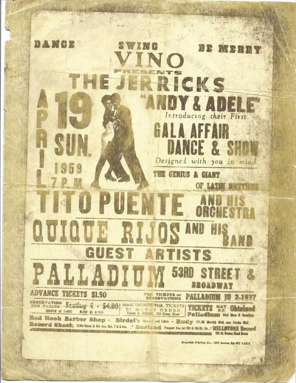 A banner for the Palladium advertises Puente's orchestra, among other Latin music entertainment.