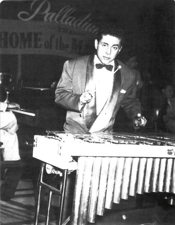 Tito Puente on vibraphone at the Palladium.