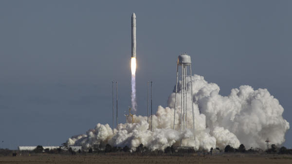 The Antares rocket lifts off from the launchpad at the NASA facility on Wallops Island Va., Sunday, beginning a test mission that has now been deemed a success. The Orbital Sciences Corp. rocket will eventually deliver supplies to the International Space Station.