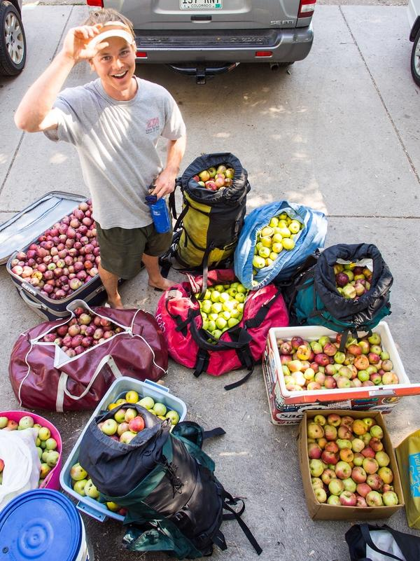 Jeff Wanner stands among the 500 pounds of apples he picked from neighborhood trees in a couple of hours with Falling Fruit co-founder Ethan Welty in Boulder, Colo., last fall.