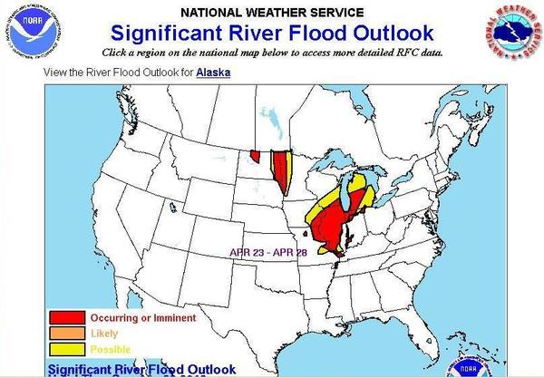 National Weather Service Significant Flood Outlook for the week of April 23 - 28, 2013.