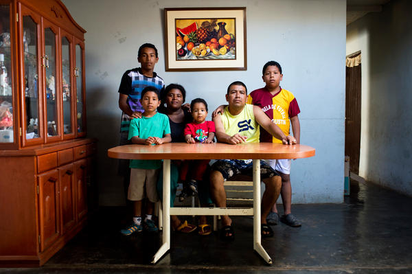 The Avilas photographed at their home. All of them were born and raised in El Ayllu. Pictured (from left) are Jalson Avila, 14, Arin Avila, 7, Ivon Arrazabal, 35, Marcio Avila, 2, Yely Avila, 38, and Italo Avila, 10. As soon as families moved out, the Ministry of Transportation and Communications, with the help of paid community members, began to demolish the buildings.