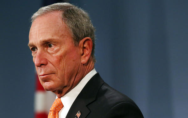 "New York City Mayor Michael Bloomberg speaks at a news conference at City Hall  on April 25. The billionaire mayor has been spending from his personal fortune to provide a ""political counterweight to the NRA,"" his policy adviser says."
