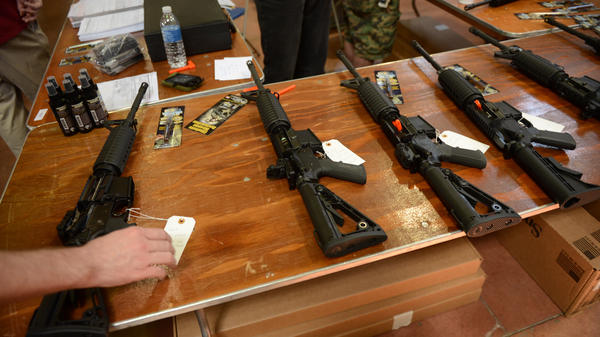 Firearms for sale at a gun show in Annapolis, Md., on April 14.
