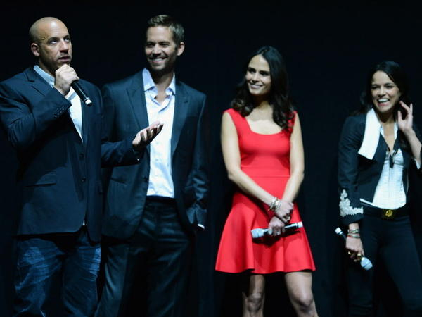 """Actors Vin Diesel and Paul Walker, and actresses Jordana Brewster and Michelle Rodriguez attend a Universal Pictures presentation to promote their upcoming film """"Fast & Furious 6."""""""
