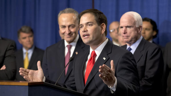 """Sen. Marco Rubio, R-Fla., speaks at a Capitol Hill news conference with the Senate's """"Gang of Eight,"""" the bipartisan team pushing an immigration overhaul, on April 18."""