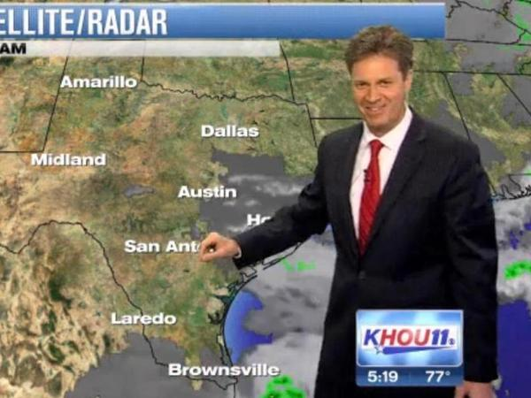 KHOU-TV's David Paul, hiccuping his way through his forecast Monday night.