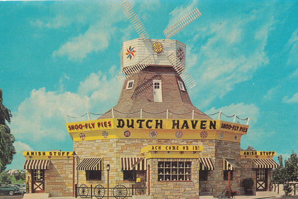 "Tourist establishments like the Dutch Haven restaurant in Ronks, Pa., marketed ""Dutch"" culture with windmills, even though the roots of Pennsylvania Dutch culture lie in Germany and Switzerland."