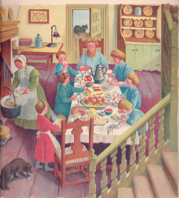 No self-respecting Pennsylvania Dutch family would have eaten near a hot and smoky cooking hearth; the kitchen was in a separate room. This romanticized view of an Amish family meal is from Ann Hark's 1943 children's book, <em>The Story of the Pennsylvania Dutch.</em>