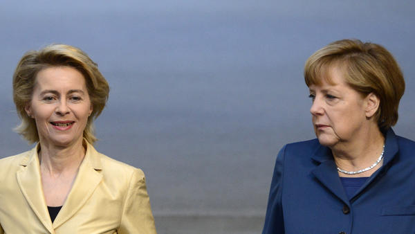 German Labor Minister Ursula von der Leyen (at left, shown here with German Chancellor Angela Merkel) has been the main government architect of measures aimed at helping women reconcile careers with having children.